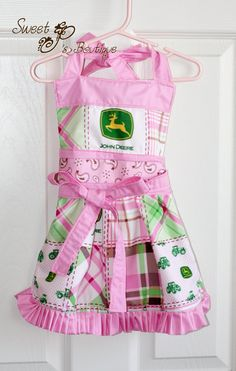 Girls Pink John Deere Ruffle Apron by sweetpsboutique1 on Etsy, $35.00