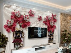 Beibehang Custom wallpaper living room bedroom TV European jewelry flower TV background walls photo wallpaper for walls 3 d Wallpaper Decor, Custom Wallpaper, Photo Wallpaper, Flower Wallpaper, Ceiling Design, Wall Design, 3d Living Room, Custom Wall Murals, Home Design Decor