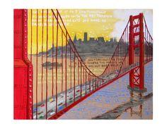 SAN FRANCISCO Golden Gate Bridge Abstract Fantasy by ArtCalifornia, $20.00