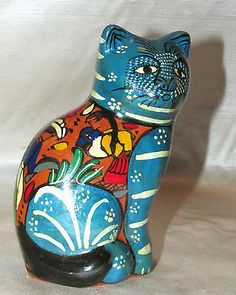 Vtg Blue Tonala Painted Clay Terracotta CAT City People Mexico Mexican Figure | Collectibles, Cultures & Ethnicities, Latin American | eBay!