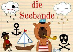 Lillemo Plotterdatei Seebande Boot Cameo Plotter Silhouette Boat Bär Seebär bear Wolken Piraten Clouds