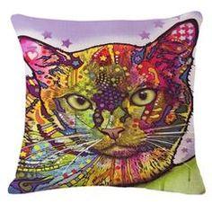 Colorful Mosaic Cat Throw Pillows Sofa Throw Pillows, Throw Pillow Covers, Cushion Covers, Cat Lover Gifts, Cat Gifts, Pet Lovers, Printed Sofa, Cat Pillow, Cat Colors