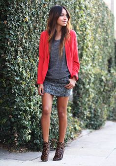Red blazer, grey t-shirt, mini skirt.  Sincerelyjules.com