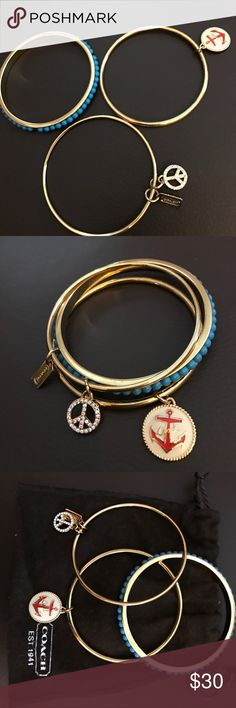 Coach bangle set with pouch Solid bangle, for small or medium wrist Coach Jewelry Bracelets