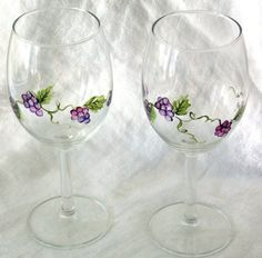 Two Grape Vine Wine Glasses Hand Painted by bethscottage on Etsy