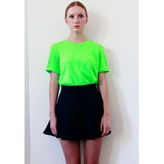 Mindie Fluo Green Textured Tee $42.00 http://www.helloparry.com/collections/top/products/mindie-fluo-green-textured-tee