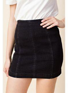 Black High Waisted Denim Skirt