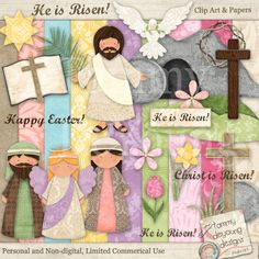 Easter Religious Clip Art Digital Papers handmade for greeting cards, scrapbooking, gift tags, paper crafts and gifts. via Etsy.