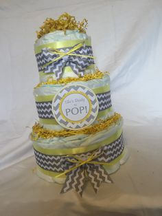 ADORABLE DIAPER CAKE - Baby Girl or Boy - She's Ready to Pop! - Yellow Grey Gray Chevron Three Tier Cake Wow Your Friends