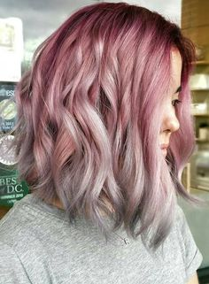 ~~~ Seriously consider it ~~ Rose Pink and Platinum Steel Grey ombre A-line bob