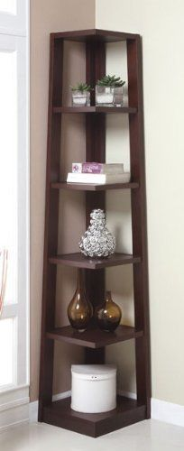 "Five Tiers Corner Bookshelf in Walnut Finish by H-M SHOP. $114.36. Assembly is required.. Five tiers.. Finish: Walnut. Material: Wood. Dimension: 16"" x 16"" x 75""H. This 5-tier Wooden Corner Bookshelf is an attractive display and storage unit for any corner in your home or office. The bookshelf is also available in black finish. Please see our inventory."