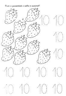 Numerais - Números de 0 a 10 para cobrir e colorir Número 0 - cobrir e colorir Número 1 - cobrir e colorir Número 2 - cobrir. Numbers Preschool, Preschool Worksheets, Preschool Activities, Teaching Kids, Kids Learning, Preschool Painting, Singapore Math, Montessori Math, Simple Math