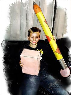 A painting of my grandson Ben.holding a very large pencil Armin, To My Daughter, Pencil, Painting, Painting Art, Paintings, Painted Canvas, Drawings