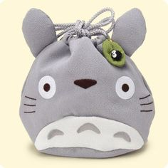 Totoro Bell Pouch, lined with Makurokurosuke patterned fabric, formerly sold by Neo Tokio