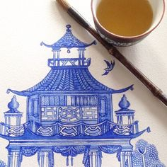 """Michelle Grayson on Instagram: """"I'm thinking, a few more pagoda paintings and I have a nice wallpaper design... . . . . . . . . #sproutgallery #ilovethishome…"""" White Art, Blue And White, Chanel Art, White Prints, Ginger Jars, Cool Wallpaper, Designer Wallpaper, Chinoiserie, Paintings"""