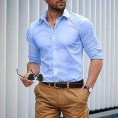 Blue and khaki Blue Shirt Outfit Men, Stylish Men, Men Casual, Formal Men Outfit, Formal Shirts For Men, Herren Outfit, Mens Fashion Suits, Look Chic, Mens Clothing Styles