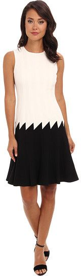 Calvin Klein Dress, Calvin Klein Black, Fit And Flare, Skater Dresses, Clothes For Women, Formal Dresses, Flare Dress, Fitness, Black White