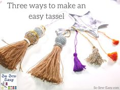 3 ways to make a easy tessel How To Make a Tassels Quick DIY Tutorial Sewing Hacks, Sewing Tutorials, Sewing Crafts, Sewing Projects, Diy Crafts, Sewing Tips, Diy Projects, Bag Tutorials, Sewing Ideas