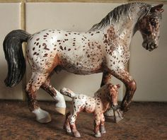 These two Red Toned Appaloosas actually are different breeds, in reality. Luke, the gelding, is actually a white Lippazaner, and Marco, the filly, is a Fallabella. Either way, I let them share a stall at my Schleich Ranch!
