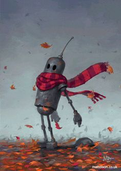 Windy gif - robot in the autumn wind