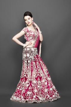 Red Lehenga with Velvet Belt