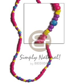 Fuschia Pink Coco Pokalet Yellopurple Coco Pokalet Combination And Blue Wood Beads Marble Splashing Teens Necklace Teen Necklaces, Shell Necklaces, Coco Fashion, Beach Fashion, Beach Accessories, Fashion Accessories, Fashion Jewelry, Collar Tribal, Blue Wood