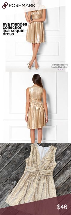 """Eva Mendes Collection Lisa Sequin Dress Gorgeous glittery champagne gold sequined dress from Eva Mendes for New York & Company. Back zipper with hook and eye closure. Fully lined. Outer fabric and lining are both 100% polyester. Length is 38.5"""", bust is 19"""" laid flat, waist is 15.25"""" laid flat. Material does not provide stretch. Worn once for an event, in excellent gently used condition. This dress is perfect for a weekend cocktail party or for your upcoming holiday event! New York & Company…"""