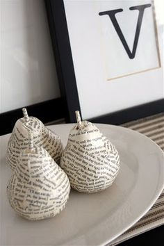 book page pears - I would love to make a bowl full of pears, half these and half the jute wrapped pears