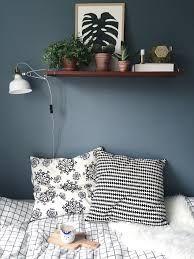 Billedresultat for Blå Grønt Soveværelse Living Room Grey, Cozy Living, Home Bedroom, Diy Bedroom Decor, Home Decor, Wall Shelf Decor, Bedroom Colors, Colorful Interiors, Home Furniture