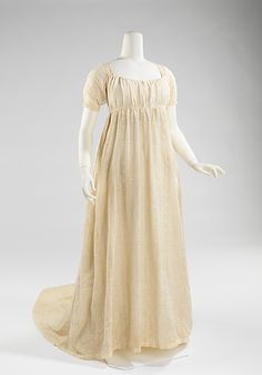 Dress  Date: 1800–1805 Culture: American Medium: cotton, linen (You can make one similar to this from my drawstring dress option in the Elegant Lady's Closet pattern -- sensibility.com)