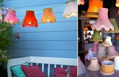 A fun and whimsical way to add a bit of colourful lighting to your outdoor setting, reusing a variety of old and ornate lampshades. #DIY