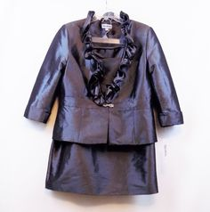 *NEW* Nicolette Shiny Gray Skirt Suit Sz 16