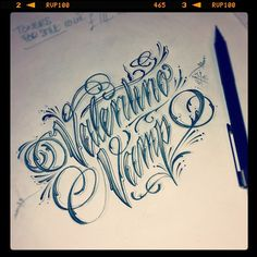 love the lettering! Chicano Lettering, Tattoo Lettering Fonts, Hand Lettering Alphabet, Cool Lettering, Types Of Lettering, Typography Letters, Creative Lettering, Front Thigh Tattoos, Tigh Tattoo