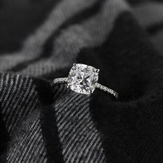 Idyllic Stackable Engagement Ring with a 3.0ct cushion Diamond Hybrid