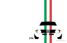 Simplistic Alfa Romeo Giulia Sprint GTA with verticle Italian stripes