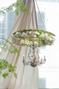 Gorgeous flower wreath and silver chandelier