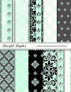 Want these for the babies room decor. DAMASK+Digital+Scrapbook+Paper+Pack+Mint+Green+by+GracefulGraphics,+$3.00