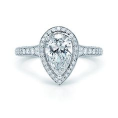 Art Deco Pear Engagement Ring with Sapphire Sides Bezel Set - Stunning!