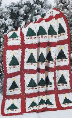 Christmas Afghan Crochet Pattern - Christmas Trees - Crochet Home & Holiday Magazine