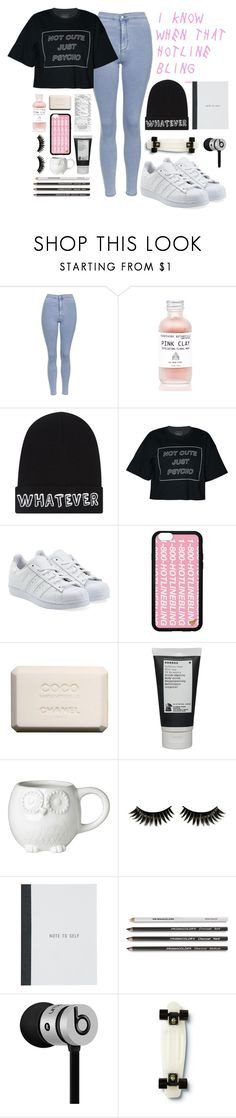"""P͟S͟Y͟C͟H͟O͟T͟I͟C͟"" by i-smell-grunge ❤ liked on Polyvore featuring Topshop, Local Heroes, adidas Originals, Chanel, Korres, Boohoo, Beats by Dr. Dre and Quiksilver"