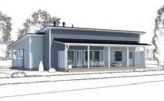 Muunneltu versio Ainoa Valo 152 -mallista: tässä mallissa pääsisäänkäynti ja kuisti sijaitsevat talon päädyssä, eli talo on helppo sijoittaa kapeammallekin tontille. Talon oleskelutilojen puoleista reunaa ympäröi katettu terassi, johon pääsee olohuoneen lisäksi kodinhoitohuoneesta.