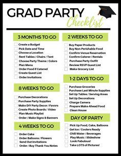 FREE Printable Grad Party Checklist - Planning a graduation party can be overwhelming! Our handy graduation party checklist is all you ne - Outdoor Graduation Parties, Graduation Party Planning, Graduation Party Themes, College Graduation Parties, Graduation Celebration, Graduation Party Decor, Grad Parties, Graduation Ideas, Graduation Centerpiece