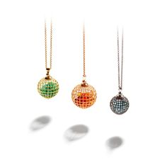 Roule & Company Citrine Rose Gold Shaker Globe Pendant  | From a unique collection of vintage drop necklaces at https://www.1stdibs.com/jewelry/necklaces/drop-necklaces/