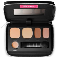 BIG SALEBAREMINERALS set! BareMinerals foundation travel kit set. Comes in nice zip around case with mirror. Foundation/Touch up/ bronzer/ luminizer/ & concealer + comes with 2 brushes! You can use the case for other things as well the make up is removable. So perfect for on the go;) still has protective plastic. Ship asap no trades no pp. bundle discounts available  bareMinerals Makeup Foundation