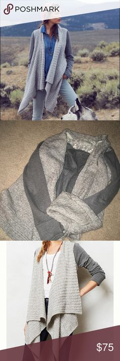 Anthropologie Casado Cardigan Gorgeous and warm high low cardi! Grey with light grey sweater- super warm and cozy. No flaws at all! Saturday/Sunday by Anthro. z#1110 Anthropologie Sweaters Cardigans