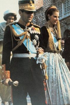 thegreekroyals:  King Constantine and Queen Anne-Marie followed by Princess Irene