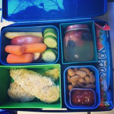 paleo chicken tenders w/ ketchup; apples; carrots; cucumbers; almonds; stoney farm yo kids squeezable yogurt; homemade jello with berries; larabar (not pictured)