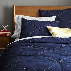 """Just bought for son's room... now to """"sports it up""""!!  Diamond Stitch Cloudcover Quilt + Shams - Night Shade #WestElm"""