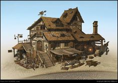 Fantasy Village, Fantasy Town, Fantasy House, Fantasy Map, Medieval Fantasy, Fantasy World, Landscape Concept, Fantasy Landscape, Environment Concept Art
