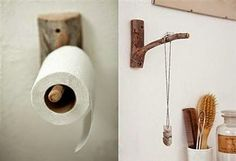 These Branch Wall Hooks in the bathroom:as a toilet roll holder or to hang jill platner jewelry. Ideas Baños, Wood Hooks, Toilet Roll Holder, Jar Lamp, Rustic Interiors, Tree Branches, Home Accessories, Design Inspiration, Daily Inspiration